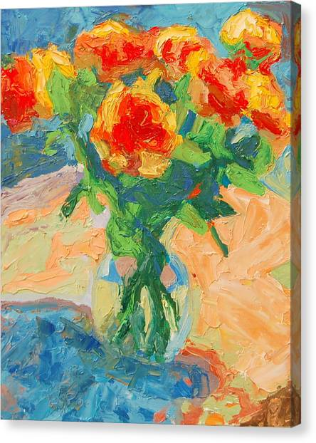 Orange Roses In A Glass Vase Canvas Print