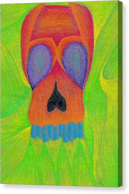 Influence Canvas Print - Orange Skull by Jera Sky