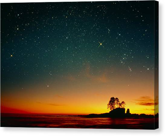 Stellar Canvas Print - Orange Sunset With Orion, Gemini & Cancer by David Nunuk