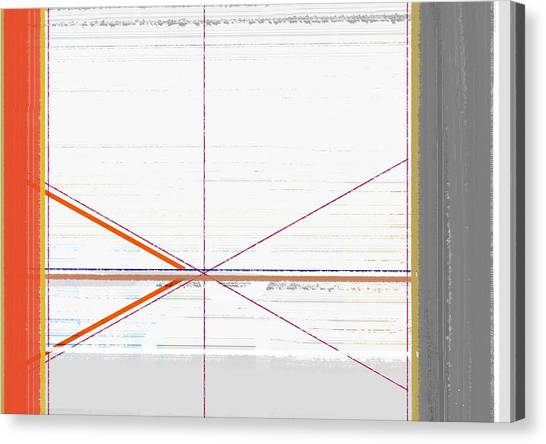 Tasteful Canvas Print - Orange Triangles With Grey by Naxart Studio