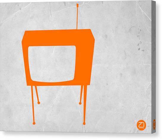 Retro Canvas Print - Orange Tv by Naxart Studio