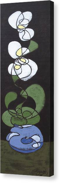 Canvas Print featuring the painting Orchid Floral 1 by John Gibbs