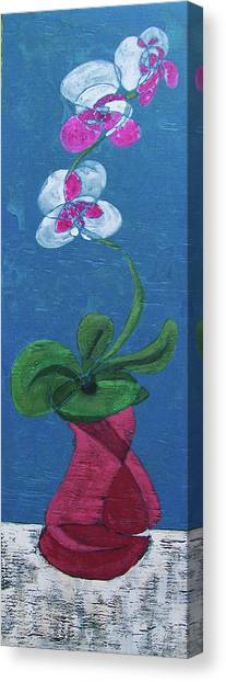 Orchid Inspired Floral On Blue 1 Canvas Print