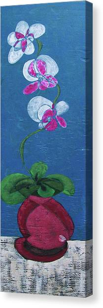 Orchid Inspired Floral On Blue 2 Canvas Print