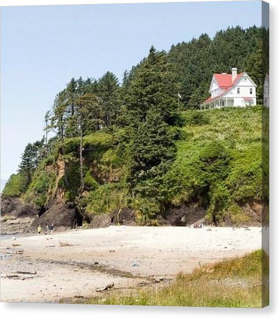 White House Canvas Print - #oregon #house #red #white #cliff #hill by Michael Lynch