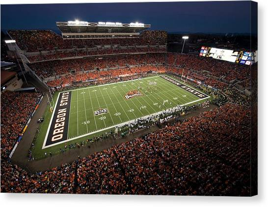 Pac 12 Canvas Print - Oregon State Night Game At Reser Stadium by Oregon State University