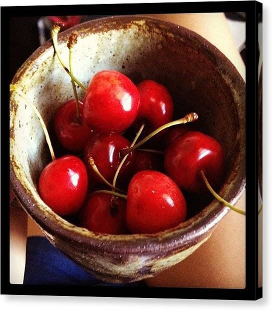 Queens Canvas Print - Organic Sweet Cherries From The Farmers by Amy Lanza