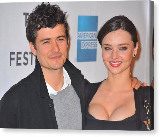 Orlando Bloom Canvas Print - Orlando Bloom, Miranda Kerr At Arrivals by Everett