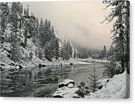 Orofino Snow Clearwater River Canvas Print