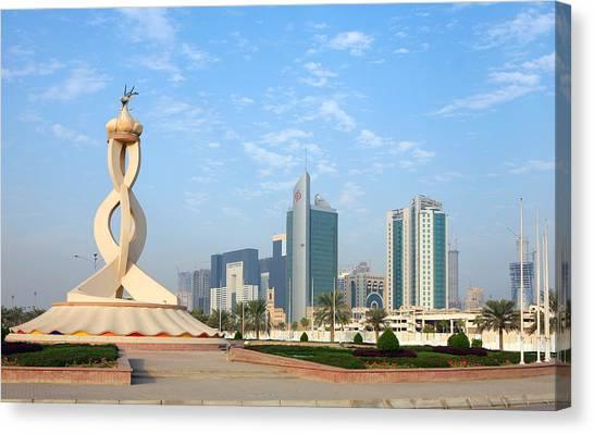 Oryx Roundabout In Qatar Canvas Print by Paul Cowan