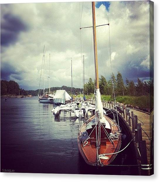 Sailboats Canvas Print - #oslofjord #pier #sailboats #sky by Solveig Lae