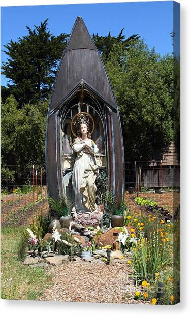Our Lady Of The Harbor . Point Reyes Station California . 7d15911 Canvas Print by Wingsdomain Art and Photography