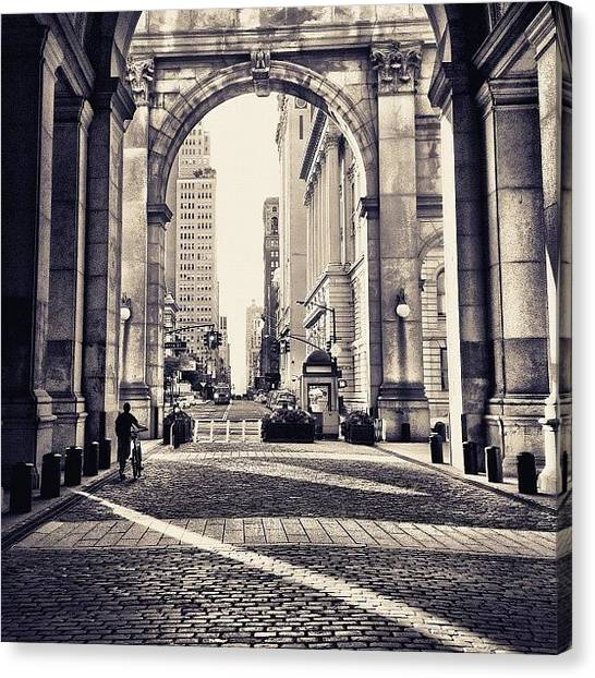 Bicycles Canvas Print - Out From Shadows - Manhattan Municipal Building - New York City by Vivienne Gucwa