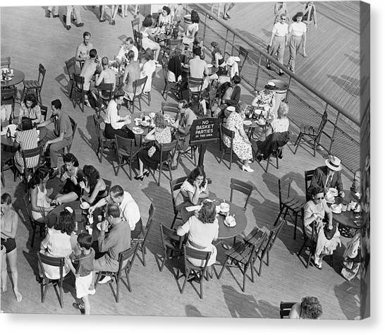 Outdoor Cafe Scene Canvas Print by George Marks
