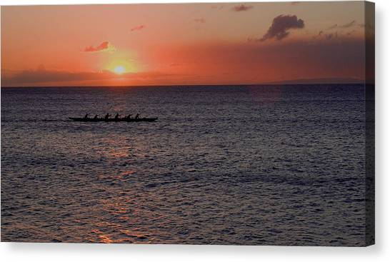 Outrigger Sunset Canvas Print by Tony and Kristi Middleton