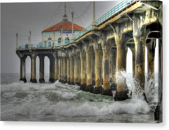 Overcast Manhattan Beach Pier Canvas Print