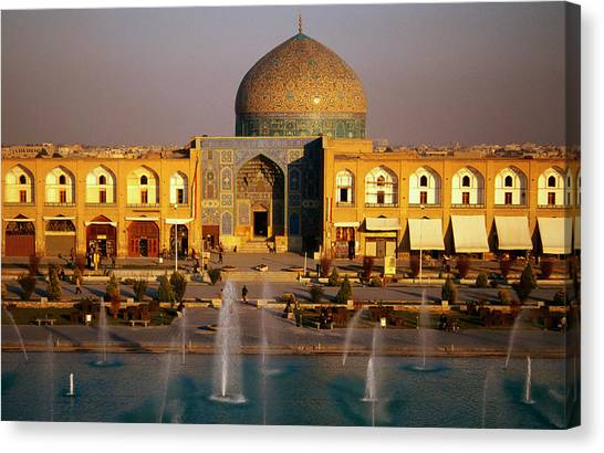 Overhead Of Fountains Outside Sheikh Lotfollah Mosque, Emam Khomeini Square, Esfahan, Iran Canvas Print by Mark Daffey