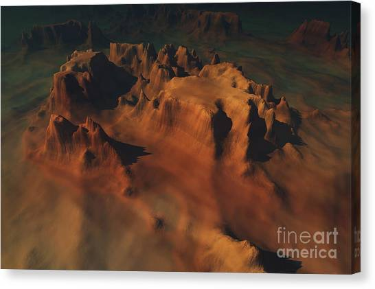 Aerial View Canvas Print - Overhead View Of A Desert Mountain Worn by Corey Ford