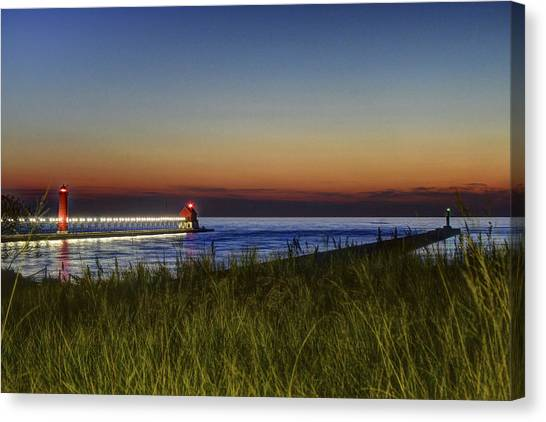 Overlooking The Piers Canvas Print
