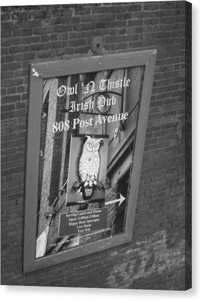 Owl And Thistle Irish Pub Canvas Print