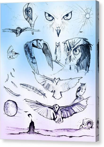 Owl In Flight Canvas Print