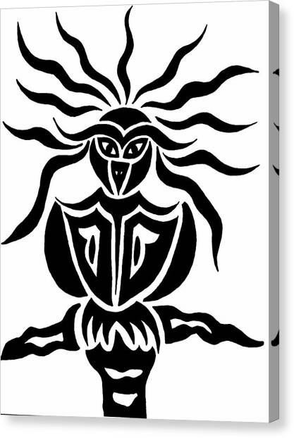 Owl Or Alien Two Canvas Print by Beth Akerman