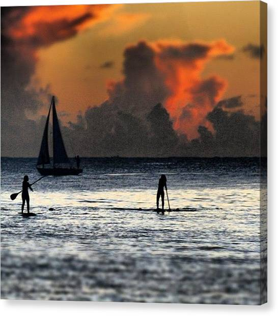 Ocean Sunsets Canvas Print - Paddle Boarding by Emilio Alfieri