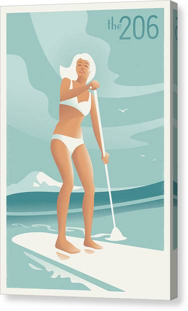 Bikini Canvas Print - Paddleboarding Seattle by Mitch Frey