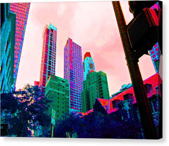Paint The Town Red Canvas Print by Val Oconnor