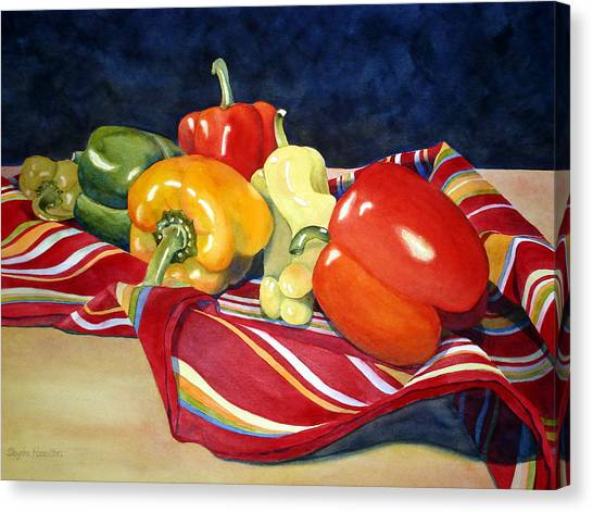 Painted Peppers Canvas Print