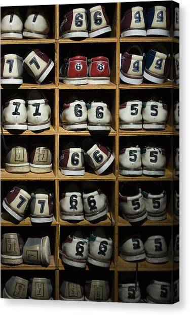 Bowling Shoes Canvas Print - Pairs Of Bowling Shoes On A Shelf by Rubberball/Mike Kemp