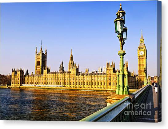Parliament Canvas Print - Palace Of Westminster From Bridge by Elena Elisseeva