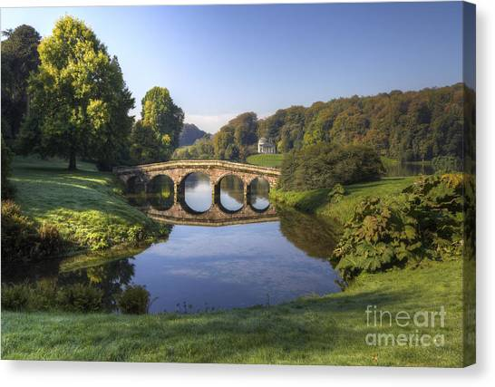 Palladian Bridge At Stourhead. Canvas Print