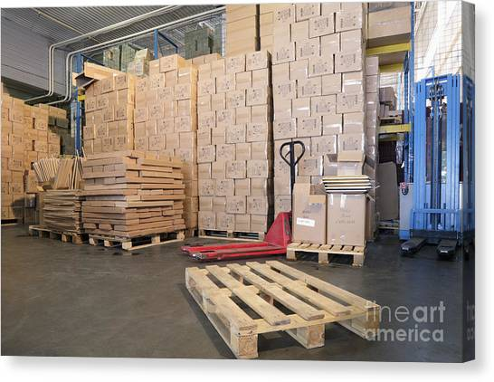 Forklifts Canvas Print - Pallets And Boxes by Magomed Magomedagaev