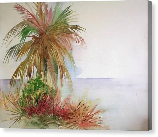 Palms On Beach II Canvas Print