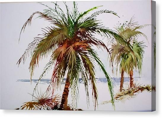 Palms On Beach Canvas Print
