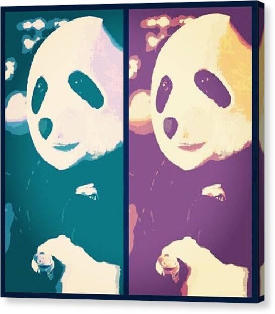 Panda Canvas Print - Panda Beers... #pbr #panda #halloween by Dilaxo Gertron