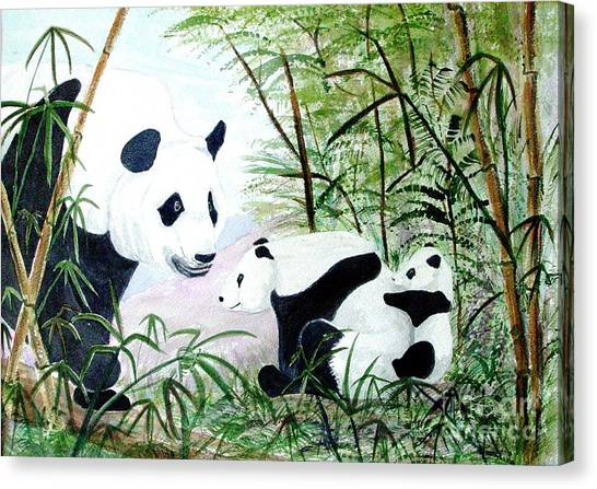 Panda Family Canvas Print by Pauline Ross