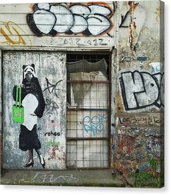 Panda Canvas Print - #panda #woman With #green #handbag by Carlos Avalos