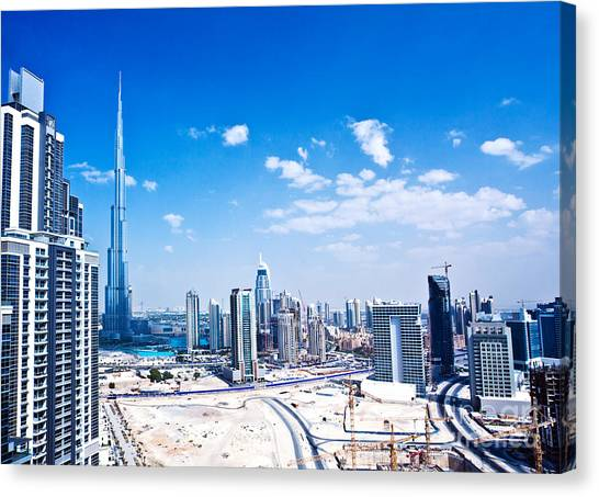 Panoramic Image Of Dubai City Canvas Print by Anna Om