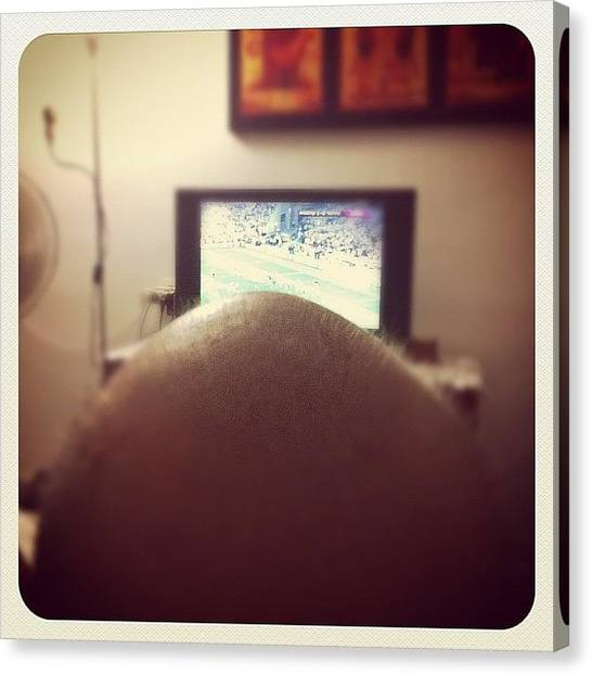 Soccer Canvas Print - Papa Watching The Euro #picoftheday by Aviad Rozenberg