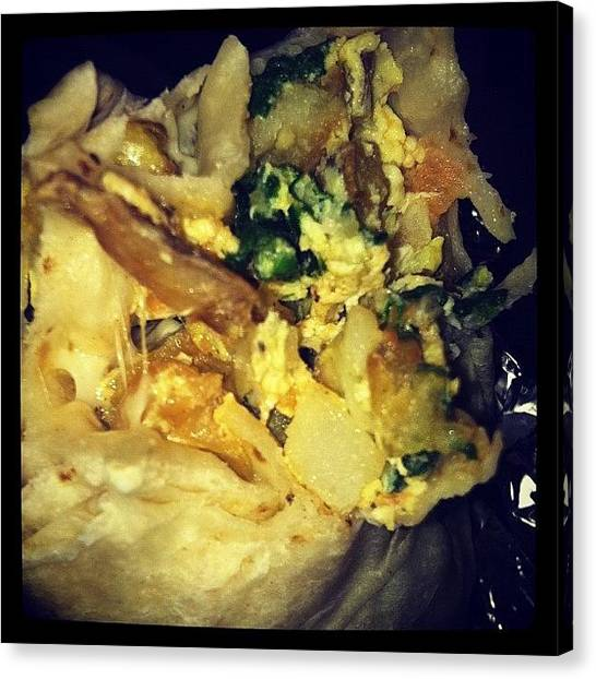 Ashes Canvas Print - Papas Burrito W Spinach From Tacos by Ash Eliot