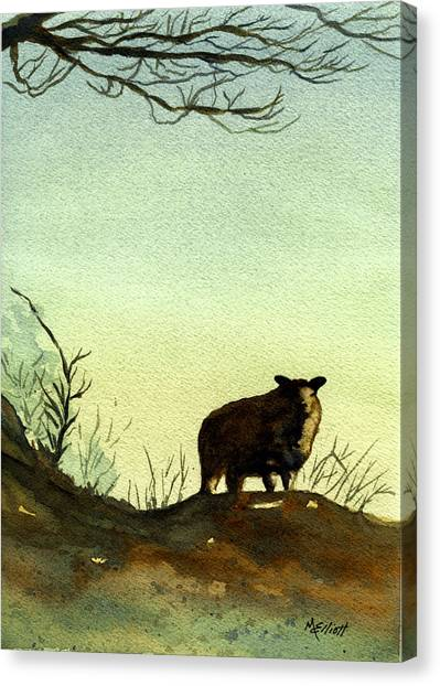 Sheep Canvas Print - Parable Of The Lost Sheep by Marsha Elliott