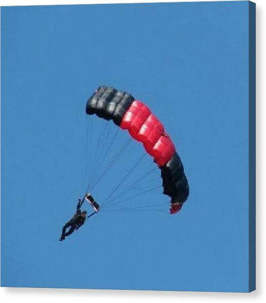 Paratroopers Canvas Print - Parachuting To Safety #paratrooper by Kegan Piper