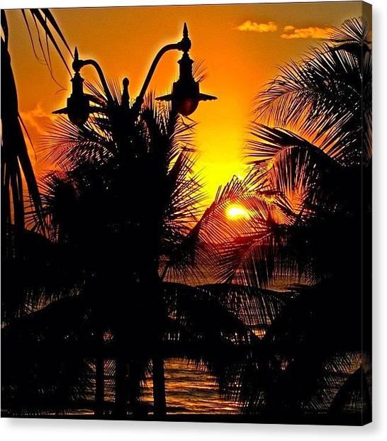 Ocean Sunsets Canvas Print - Paradise Sunset #hawaii #oahu #sunset by David Sabat