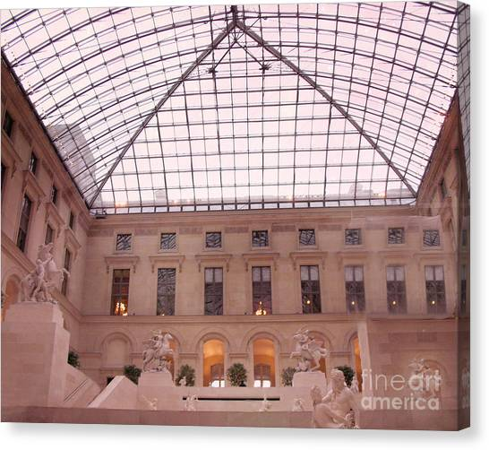 The Louvre Canvas Print - Paris Musee Du Louvre Pyramid Sculptures by Kathy Fornal