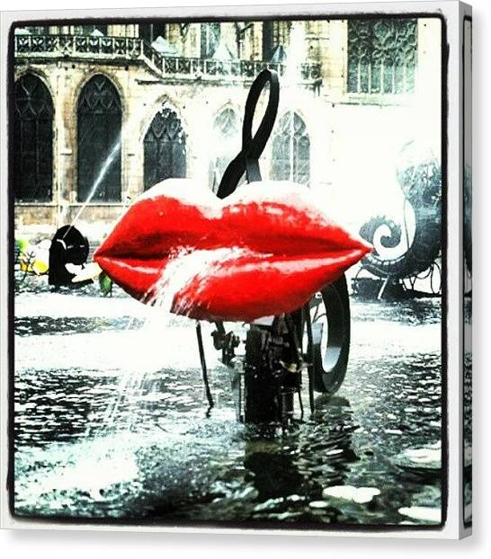 Lips Canvas Print - #paris #travel #water #red #lips by Christoph Hensch