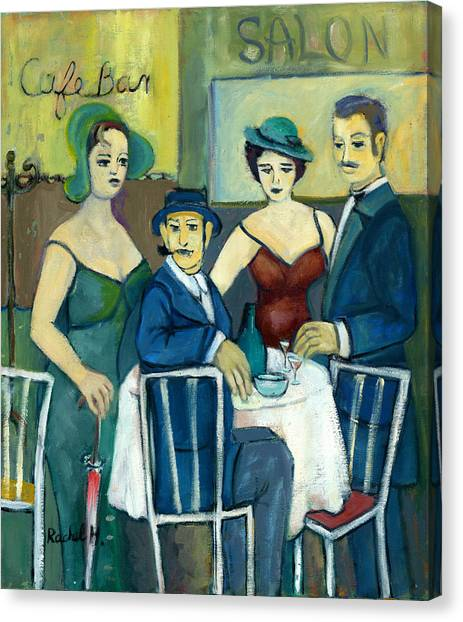 Parisian Cafe Scene In Blue Green And Brown Canvas Print