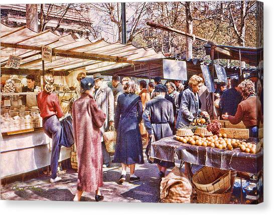 Parisian Market 1954 Canvas Print