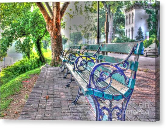 Park Bench On Riverside Drive Canvas Print